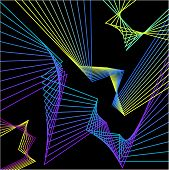 foto of contortion  - abstract bright colored geometric broken lines set isolated on dark background for use in design - JPG