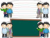picture of muslim kids  - Illustration of Male Muslim Students Standing Beside Blank Boards - JPG