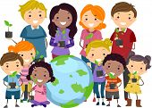stock photo of stickman  - Illustration of Stickman Kids and Adults Carrying Saplings Standing Beside a Globe - JPG