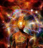 stock photo of cosmic  - Burning mind in cosmic space - JPG