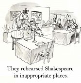 image of inappropriate  - Cartoon of couple rehearsing Shakespeare play in a restaurant - JPG