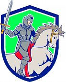 foto of horse face  - Illustration of knight in full armor riding horse steed with sword facing side set inside shield crest on isolated background done in cartoon style - JPG