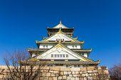 foto of castle  - Osaka Castle is a Japanese castle in Ch - JPG