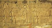 picture of hieroglyph  - Hieroglyphic carvings on the exterior walls of an ancient egyptian temple  - JPG