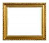 image of white gold  - Antique gold frame isolated on the white background - JPG
