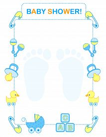 foto of invitation  - Illustration of a baby shower invitation card for boy - JPG