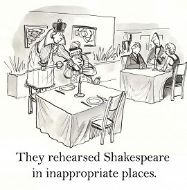 stock photo of inappropriate  - Cartoon of couple rehearsing Shakespeare play in a restaurant - JPG