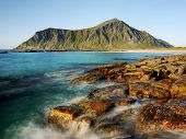 stock photo of lofoten  - Sea coast and mountains on the Lofoten Islands in Norway - JPG