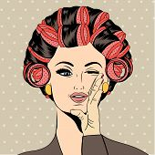 pic of hair curlers  - Woman with curlers in their hair vector format - JPG