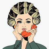 foto of hair curlers  - Woman with curlers in their hair talking at phone isolated on white vector format - JPG