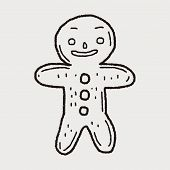 stock photo of ginger man  - Gingerbread Man Doodle - JPG