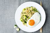 pic of millet  - stir fried millet with broccoli green beans and fried egg - JPG
