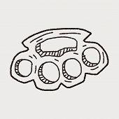 stock photo of brass knuckles  - Knuckles Doodle - JPG