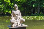 foto of gautama buddha  - Buddha statue situated in a lake covered by lotus flowers in the arboretum in Szeged  - JPG
