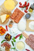 stock photo of ingredient  - Pizza and pizza ingredients - JPG
