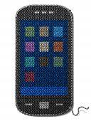stock photo of knitting  - Fragment of knitting in shape of phone - JPG