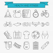 picture of cardio  - Health and fitness line icons set - JPG