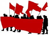 stock photo of anarchists  - People of anarchia with large flags on white background - JPG