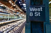stock photo of 8-track  - West 8th Street Subway Station in the Coney Island area of Brooklyn New York - JPG