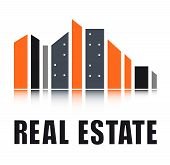 stock photo of real-estate-team  - real estate symbol with colorful city landscape silhouette - JPG
