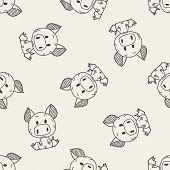 stock photo of chinese zodiac  - Chinese Zodiac Pig Doodle Drawing - JPG