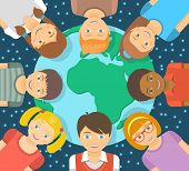image of starry  - Modern flat vector conceptual illustration of smiling happy kids of different races around the Earth in front of the starry sky - JPG