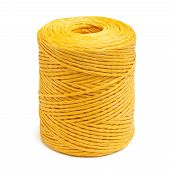 image of coil  - Coil of yellow synthetic rope isolated on white background - JPG