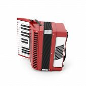 stock photo of accordion  - Retro accordion isolated on white background - JPG