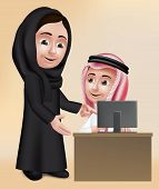 picture of arabic woman  - Realistic 3D Arab Woman Teacher Character Teaching Student Boy in Computer School Wearing Black Abaya and Thobe for Studies - JPG