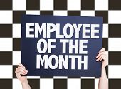 stock photo of employee month  - Employee of the Month card on checkered background - JPG