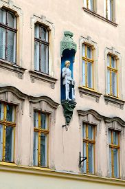 image of tenement  - Architectural detail of gothic tenement house in old town Torun listed by UNESCO organisation - JPG