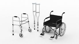 stock photo of fracture  - Black disability wheelchair - JPG