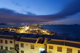 pic of manga  - View of La Manga illuminated at night. Region Murcia Spain