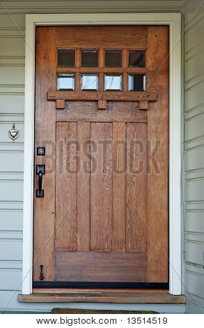Weathered mission style wood door beveled glass windows image for Californian bungalow front door