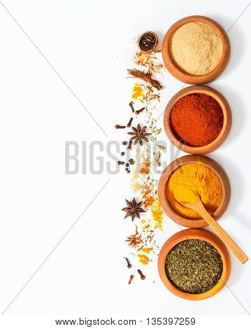 Постер, плакат: Spices For Herb And Cooking On White Background top View Spices On White Background indian Spices Fo, холст на подрамнике