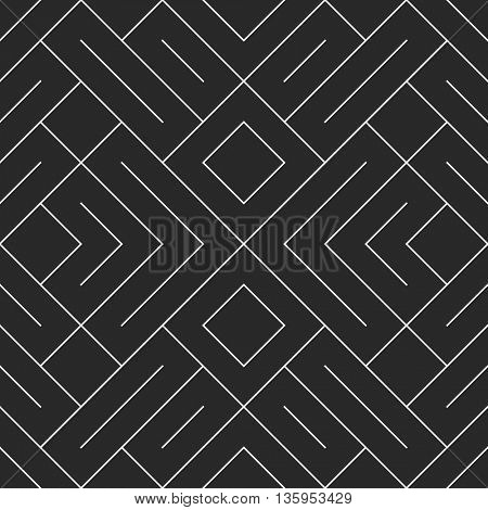 Seamless geometric pattern in pop art design. Vector crossing maze straight lines pattern. Modern st