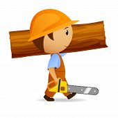 Cartoon woodcutter with chain-saw and trunk