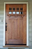 foto of entryway  - Weathered Mission style Wood door with beveled glass windows on California Bungalow - JPG