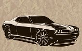 ������, ������: Muscle Car Abstract Sketch Old School 2