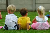 stock photo of little young child children girl toddler  - three caucasian children - JPG