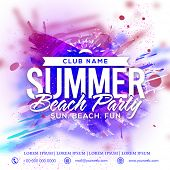 Summer Beach Party Template, Beach Party Banner, Musical Party Flyer or Invitation Card design with  poster