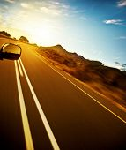 Road trip, car on the highway, speed drive, road-trip in sunny day, journey and freedom concept, tra poster