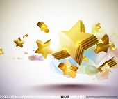Vector Golden 3D Stars