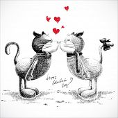 Hand Drawn Cats in Love, Isolated on White.