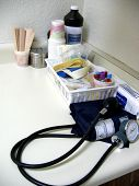 stock photo of medical supplies  - typical medical clinic supplies