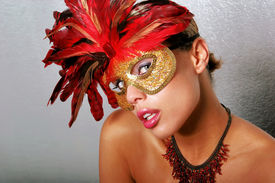 stock photo of mardi gras mask  - Sexy African American woman in mask - JPG