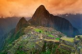 image of ancient civilization  - View of the Lost Incan City of Machu Picchu near Cusco Peru.