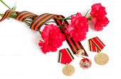 9 May Concept. 9 May Victory Day Festive Background - Jubilee Medals Of Great Patriotic War With Red poster