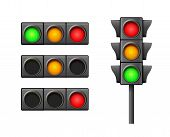 Street Traffic Light Icon Lamp. Traffic Light Direction Regulate Safety Symbol. Transportation Contr poster