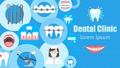 Dental Clinic Horizontal Banner With Flat Symbols Of Dental Instruments Braces Dentist Chair Orthodo poster